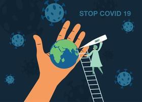 médico tomando la temperatura mundial para detener el cartel del coronavirus