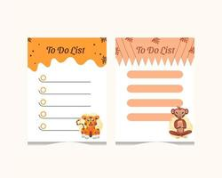 Tiger and monkey to do list set