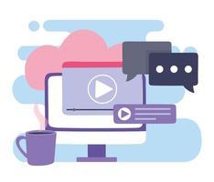 capacitación en línea, diseño de seminarios de video por computadora vector