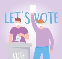 Men with masks leaving votes