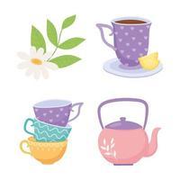 Teacups, teapot, lemon flower herbal beverage set vector