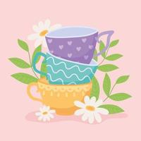 Different teacups with flowers and leaves design vector