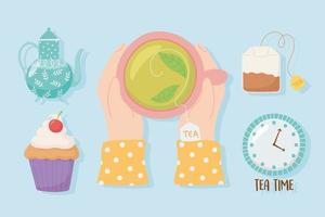 Hands with teacup and other tea time elements vector