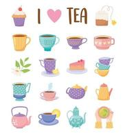 Cartoon style tea time icons set vector