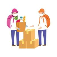 Courier men with grocery bag and boxes vector
