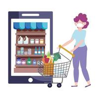 Masked woman with shopping cart orders products on phone vector