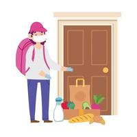 Courier man with grocery bag and boxes for customer vector