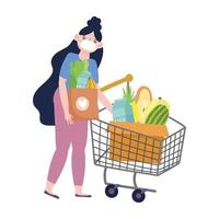Woman with mask and shopping cart vector