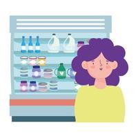mujer y nevera con productos. vector