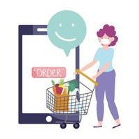 Mujer con carrito de compras ordenando la entrega de alimentos del smartphone vector