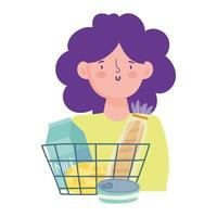 Woman with shopping basket with products vector
