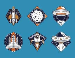 Air and space retro badge set vector