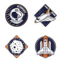 conjunto de insignias retro de aire y espacio vector