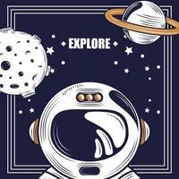 explorar el espacio y la composición retro de la galaxia vector