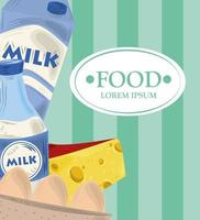 Food template banner with dairy products and eggs