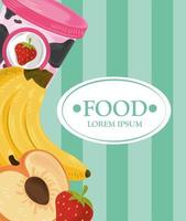 Food template banner with fruits and ice cream vector