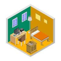 dormitorio isométrico sobre un fondo blanco