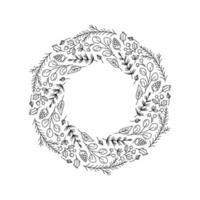 Christmas wreath outline with floral doodle elements