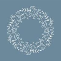 Christmas wreath outline with branches and holly