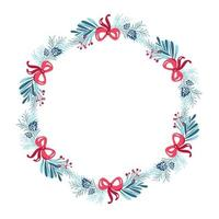 Christmas wreath with bows and evergreen