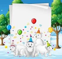 Paper template with animals in party theme