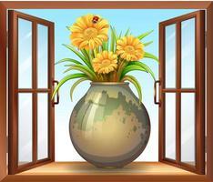 Flower in vase near window vector