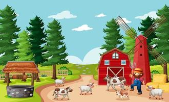 Farmer with animals in farm scene