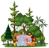 grupo de animales salvajes con elementos de la naturaleza.