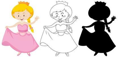 niña en traje de princesa en color, contorno y silueta vector