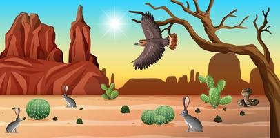 Escena del desierto con montañas y animales del desierto.