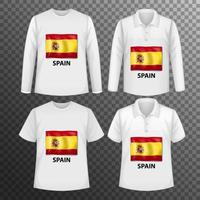 Set of different male shirts with Spain flag