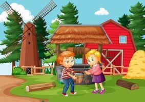 Happy family in farm scene