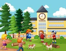 niños en la escuela escena al aire libre