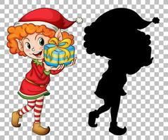 Elf holding present box and silhouette