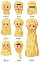 Types of Islamic traditional female veils vector