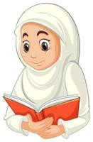Arab Muslim woman in traditional clothing reading book