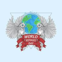 Refugee world day design with birds and Earth
