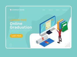 plantilla de graduación en línea con carácter isométrico