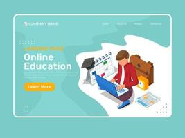 Online education landing page with isometric character studying vector