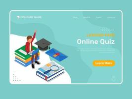 Online education template with online quiz landing page