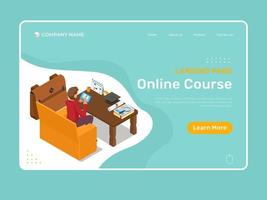 Isometric landing page with online course vector