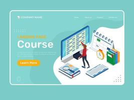 Isometric education landing page vector