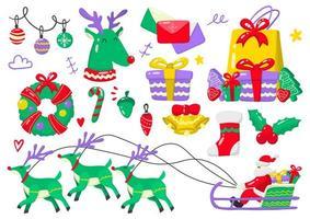 Christmas themed icons vector