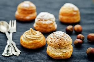 profiteroles with cream with praline