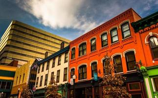 Colorful buildings and shops in Harrisburg, Pennsylvania.