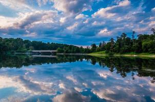 Reflection of beautiful evening clouds in Lake Marburg, Codorus