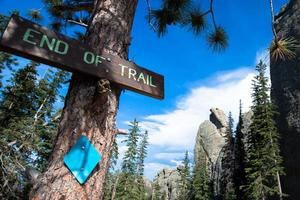 End of the trail sign on the Cathedral Spires trail photo