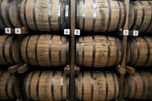Stack of Wooden Whiskey Barrels photo