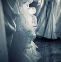 Wedding Gowns Hanging, Old Wood Floor