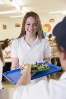 Student Collecting Lunch From The School Cafeteria